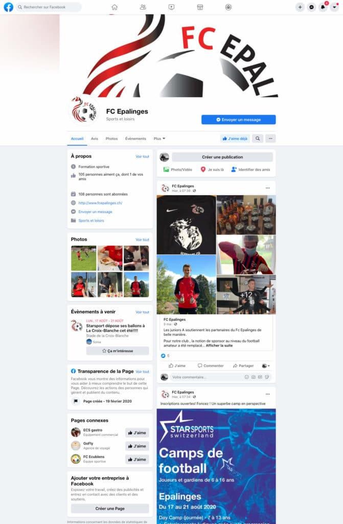 Présence du FC Epalinges sur Facebook